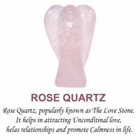 Rose Quartz Crystal Stone Angel Hand Carved Reiki Healing Angels Figurines