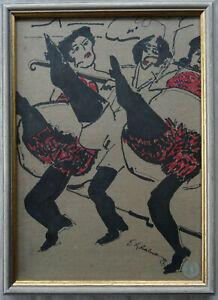 signierter abstrakter Expressionist Tänzerinnen Malerei Zeichnung Bild Rahmen
