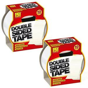 2 x Heavy Duty Double Sided Adhesive Sticky Tape Extra Strong Stick Tape 10m