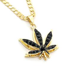 "14k Gold Plated Marijuana Black CZ Stone Pendant 24"" Cuban Chain Necklace"