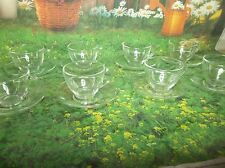 h86 Lot of 8 Arcoroc France Teacups & Saucers Clear Glass French Coffee Tea Cups