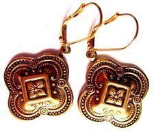 Drop Dangle Quatrefoil Cross Gold Interchangeable LVRBK Earrings USA w Gift Bag