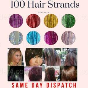 """100 Strands Holographic Sparkle Hair Glitter Tinsel Extensions Dazzles 47"""" 140CM"""