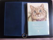 New never used Handmade Blue Leather Travelers Journal w/ Nala cat Notebook