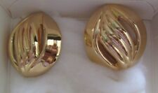 AVON VTG.*POLISHED WAVES PIERCED EARRINGS W/SURGICAL STEEL POSTS*LARGE*NIB*1990