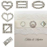 10/50/100x Round&Heart Rhinestone & Pearl Diamante Buckle Ribbon Sliders Wedding