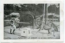 CIRQUE.CIRCUS.DOMPTEUR DE LIONS. TAMER MARTHA-LA CORSE ET LE LION SPY.