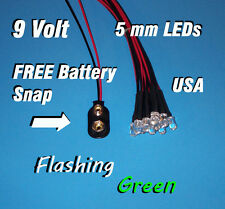 10 FLASHING LEDS 5mm PRE WIRED 9 VOLT ~ GREEN FLASH ~ 9V BLINK PREWIRED