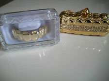 Gold Finish Grill For Upper Top Teeth Hip Hop Mouth  Grillz With Holder