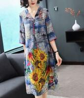 Womens Dress V Neck Midi 3/4 Sleeve A Line Plus Sz Gown Silk Floral Loose Fit