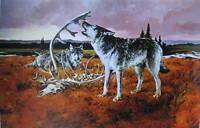 Wolf among old bones vintage art