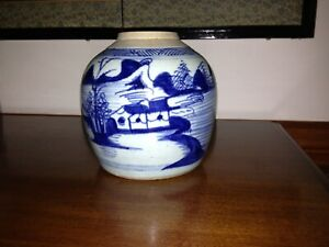 Asian Stoneware Pottery Ginger Jar  Antique Like Imari Blue and White Chinese