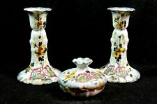 VINTAGE FRENCH PORCELAIN DRESSING TABLE SET CANDLE STICK HOLDERS AND BOWL