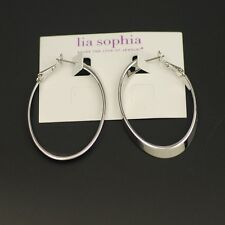 lia sophia woman jewelry polished silver tone hoop earrings womens drop dangle