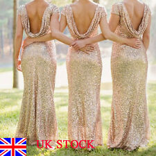 UK Womens Ladies Wedding Bridesmaid Backless Sequin Cocktail Ball Evening Dress