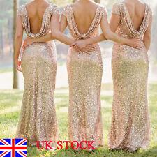 UK Womens Ladies Wedding Bridesmaid Backless Sequin Cocktail Ball Evening Dress
