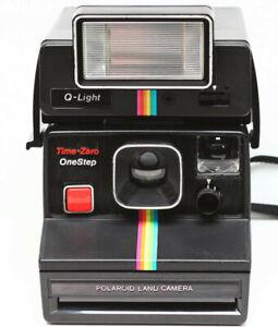 Polaroid Time-Zero OneStep SX-70 Film Instant Camera & Q-Light #2351 Flash