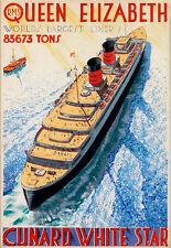 Art Ad Queen Elizabeth Cunard White Star Ship Cruise  Travel   Poster Print