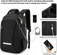 XQXA College Laptop Backpack with USB Port Water Resistant Anti Theft Black NEW