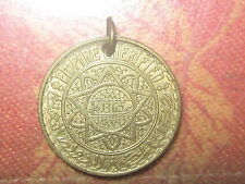 30MM MOROCCO SUN VINTAGE COIN GOLD BRASS CHARM PENDANT NECKLACE