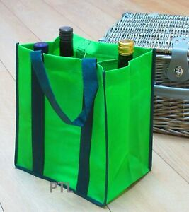 Reusable 6 WINE BOTTLES CARRIER BAG (1 Supplied - Holds six)