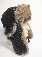 Bomber Fur Unisex Winter Ski Trooper Trapper Hat/Cap in Black/Brown-Medium