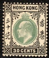 Hong Kong 1903 dull-green/black 30c crown CA mint SG70