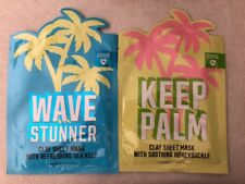 Pink Set Of TWO Clay Sheet Masks:  Wave Stunner Sea Kelp & Keep Palm Honeysuckle