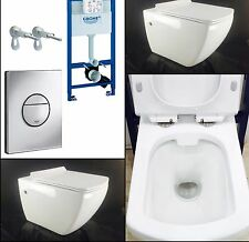 Grohe Rapid SL WC Frame+ONYX Rimless Wall Hung Toilet Pan with Soft Close Seat