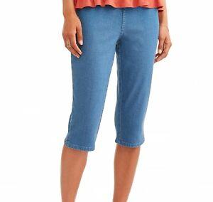 Women's Elastic Waist Pull-On Denim Capri: XL (16-18)