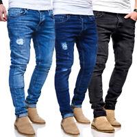 BEHYPE Jeans Destroyed Röhrenjeans Slim Fit Herren Chino Hose Blau/Schwarz NEU