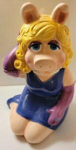 "VTG. MUPPETS MISS PIGGY ( Purple Dress ) 13 "" COOKIE JAR By TREASURE CRAFT 1995"