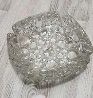 "Vintage Bubble Glass Ashtray 6"" 1970's Square Clear"