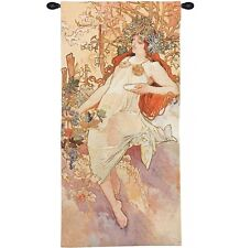 FOUR SEASONS Alhonse Mucha Wall Tapestry Painting Autumn Fall in pastel colors
