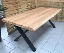 Esstisch Wildeiche Massiv Baumkantentisch 200x100cm Metallfüße X-Gestell Schwarz