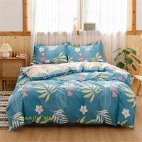 Cotton Single/Double/Queen/King Bed Quilt/Doona/Duvet Cover Set Blue Floral Leaf