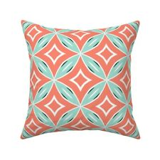 Mint Coral Mid Century 50S Throw Pillow Cover w Optional Insert by Roostery
