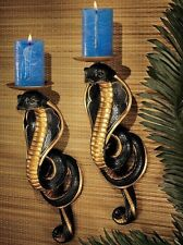 2 x Cobra Wall Sconce Sculpture Candle Holder Snake Ornament Art Egyptian Decor
