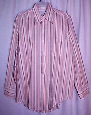 Vintage Beeline Fashions Peach Brown White Stripe Button Down Shirt Sz L 16 16.5