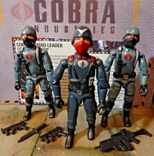 GI JOE ~ 2005 COBRA OFFICER SQUAD LEADER  & 2 NIGHT WATCH SOLDIERS ~ 1982 1983