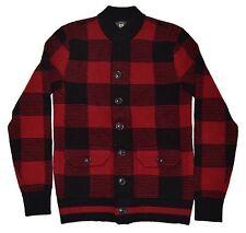 Polo Ralph Lauren RRL Men Wool Cardigan Sweater Bomber Jacket Plaid Red Black XL