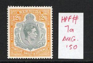 BERMUDA GEORGE VI 12/6 SG120e Aug. 50 Ptg. lightly hinged with flaw.