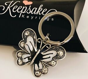 Black And White Enamel Butterfly Keyring Gift Box Mothers Day Birthday Present