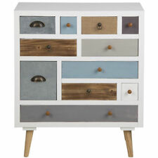 Kourtney Wooden 11 Drawer Chest White & Multicolour Apothecary Design Vintage