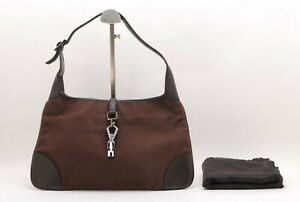 【Rank B】Auth Gucci Jackie Canvas Shoulder Hand Bag Vintage From Japan A069