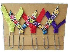 Set of 5 Handmade Decorative Paper Clip Book Marks - DOG PRINT ZEBRA RAINBOW