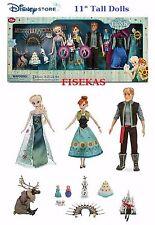 """Disney Store Deluxe 15pc Doll Gift Set Anna Elsa Dolls 11"""" Frozen Fever NEW 2015"""