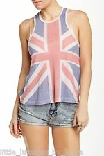 NWT WILDFOX COUTURE This Is England Tank Top Shirt Cover-Up British Flag Large L