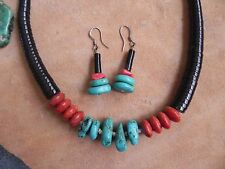 Necklace & Earrings Set Navajo Turquoise, Sponge Coral & Jet heishi
