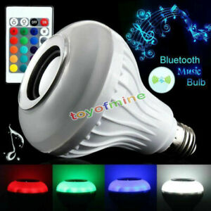 Bluetooth LED Light Speaker Bulb RGB E27 6W Music Playing Lamp Remote